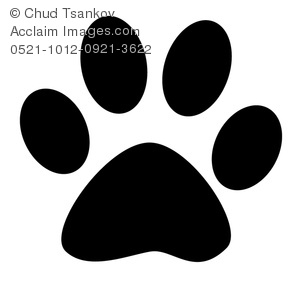 Clipart Image of Black and White Paw Print.