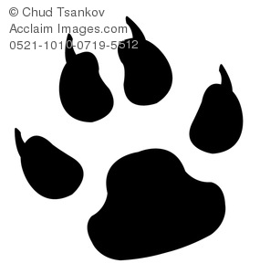 Clipart Image of A Black and White Paw Print With Claws.
