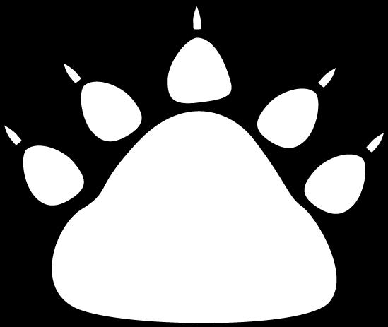 Black and White Bear Paw Print Clip Art.