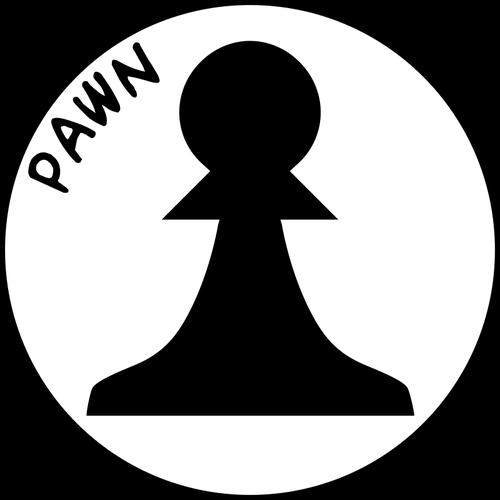 Black and white chess pawn.