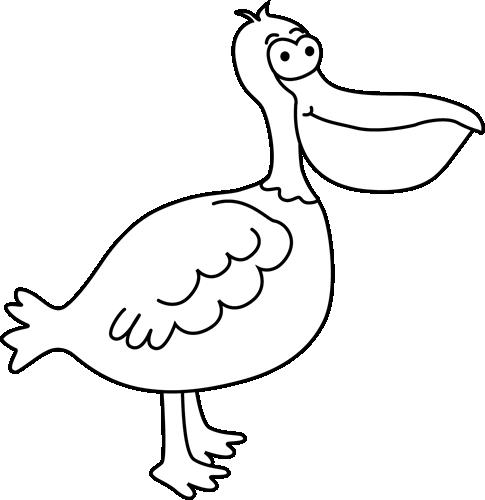 Black and White Pelican Clip Art.