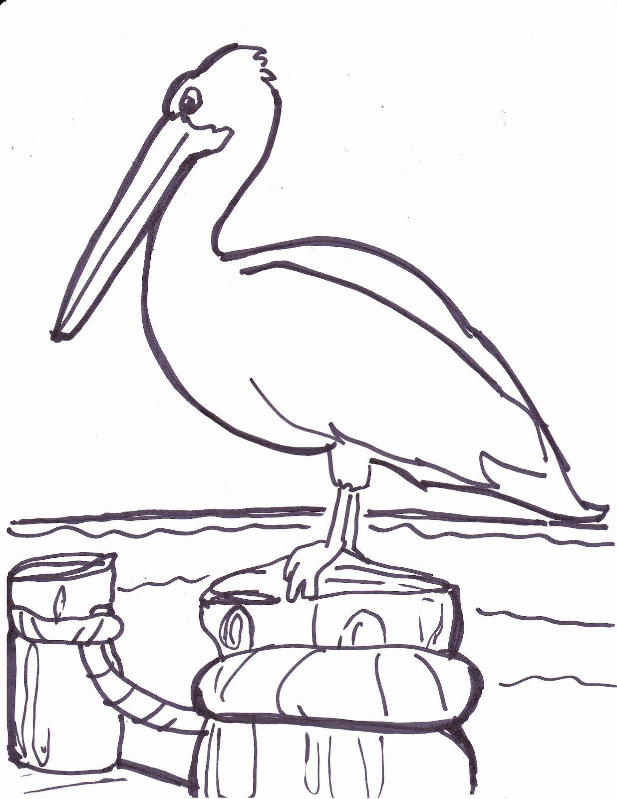 Pelican clipart black and white.
