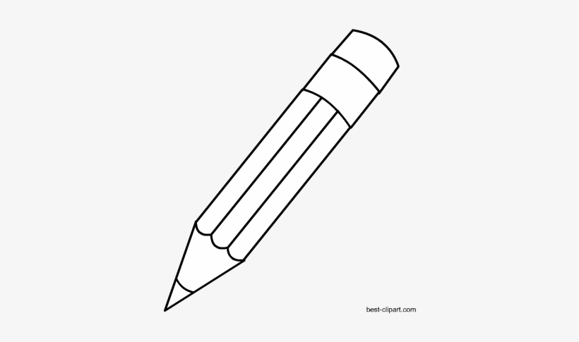 Black And White Pencil With Eraser Clip Art.