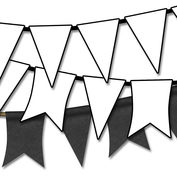 Black and white pennant banner clipart.