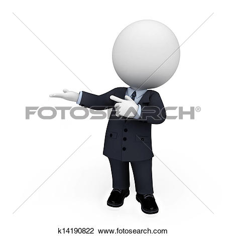 Clipart of 3d white people as business man k13825611.