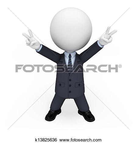 Stock Illustration of 3d white people as business man k13825636.