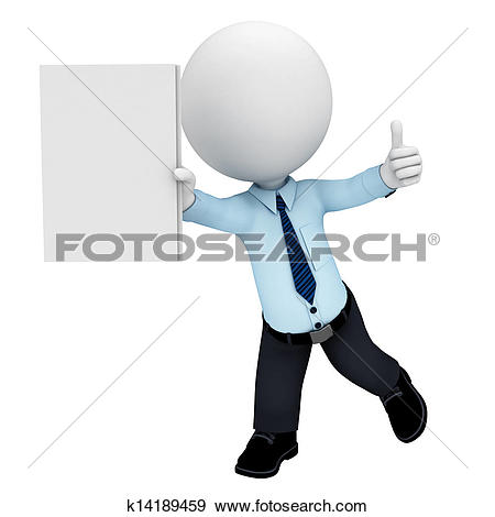 Clipart of 3d white people as service man k14189471.