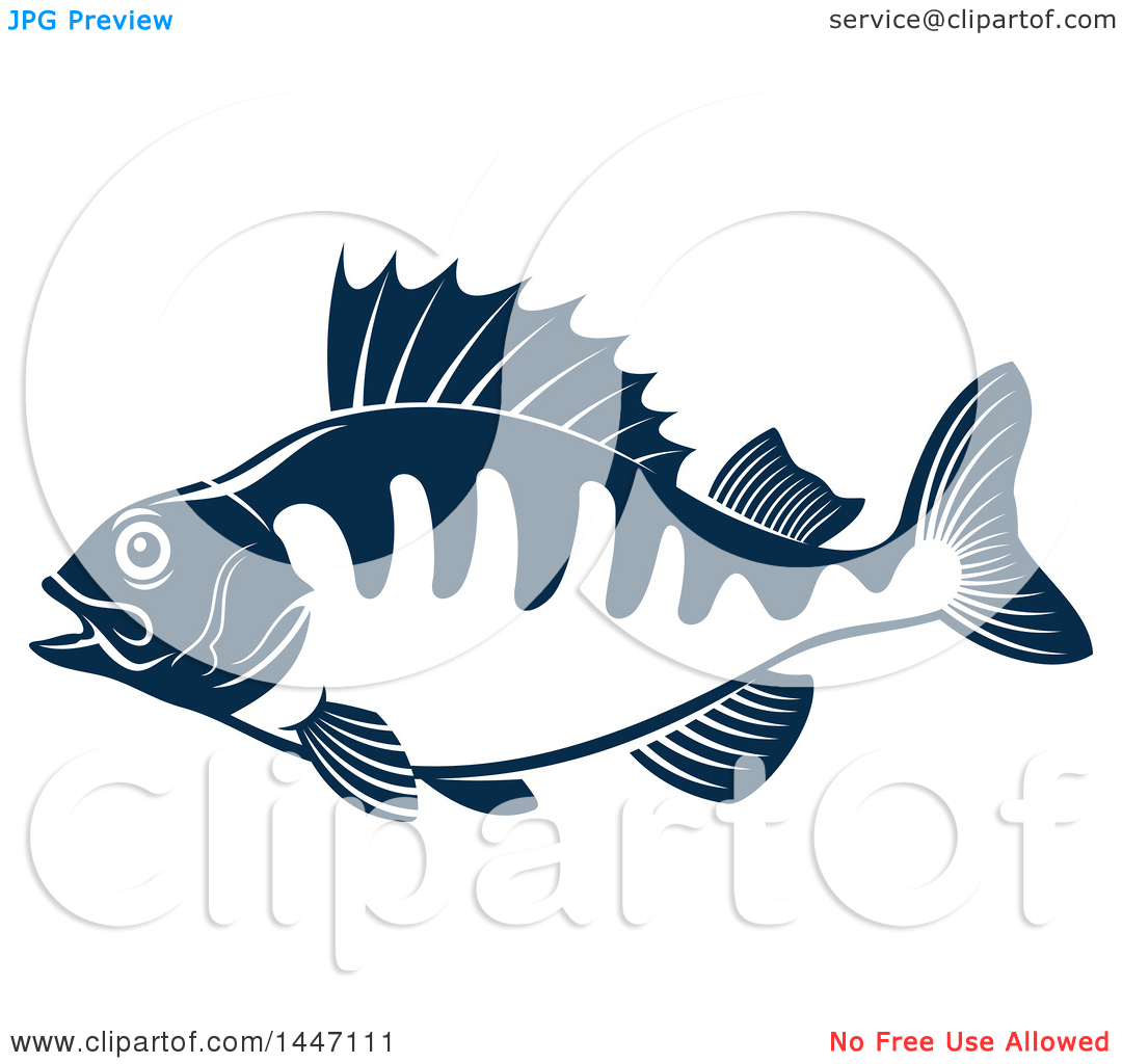 Clipart of a Navy Blue and White Perch Fish.