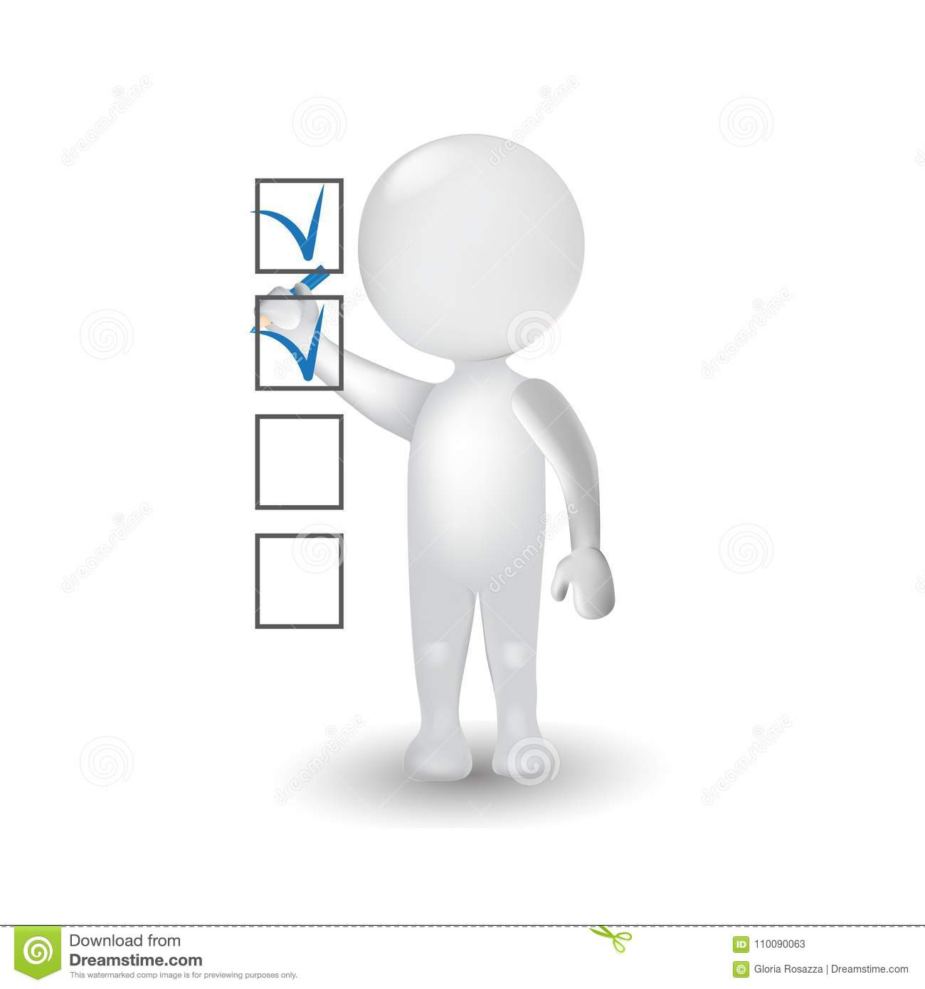 3D People White Man Making A Check Mark In A Survey Logo Icon Stock.