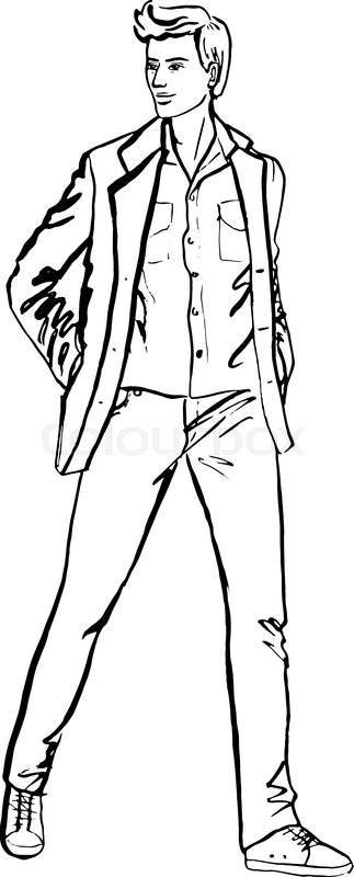 Person Clipart Black And White Outline.