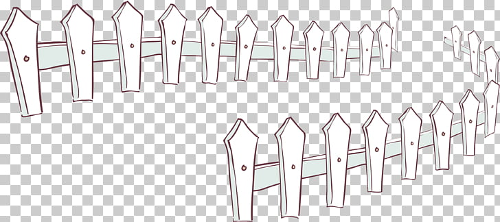 Cartoon Palisade Illustration, White picket fence PNG.