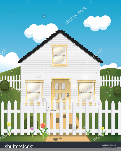 House Picket Fence Clipart.