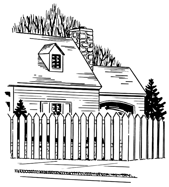 House with white picket fence clipart.