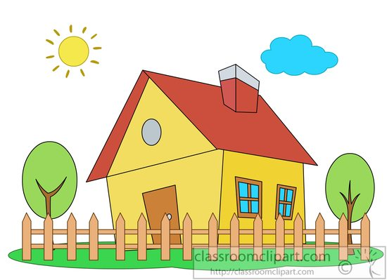 House with picket fence trees » Clipart Station.