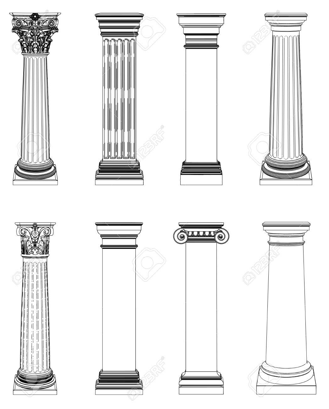 Clip Art White Columns.