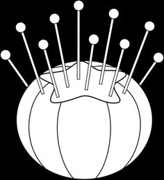 vintage sewing clipart, dainty pincushion image, black and.