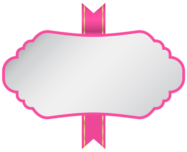 White Pink Label PNG Clip Art Image.