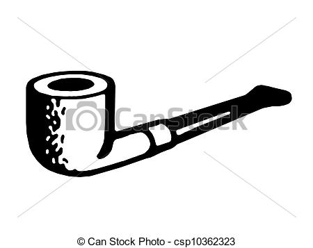 Clip Art of A black and white version of a vintage pipe.