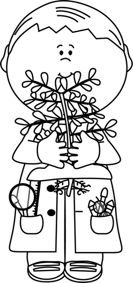 Black and White Boy Scientist with a Plant Clip Art.