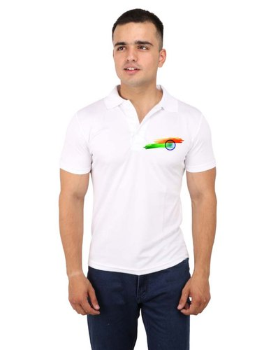 Indian Flag Clipart Polo T Shirt (white).