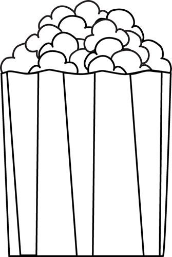 popcorn pieces clipart black and white.