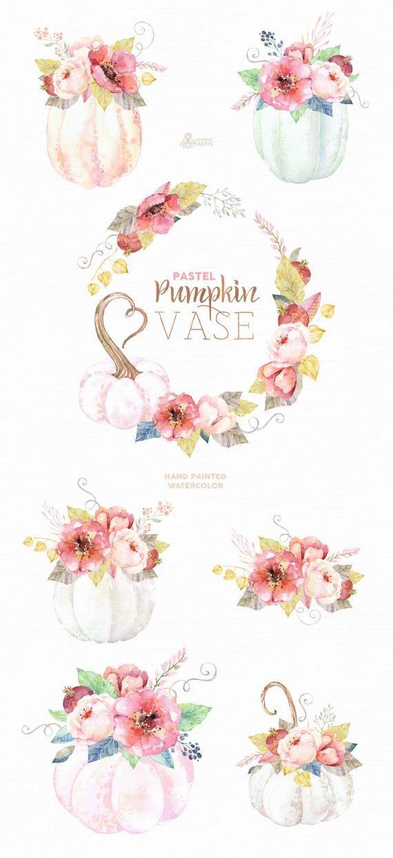 Pumpkin Vase Pastel. Watercolor clipart, harvest, floral.