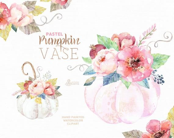 Pumpkin Vase Pastel. Watercolor clipart, harvest, floral.