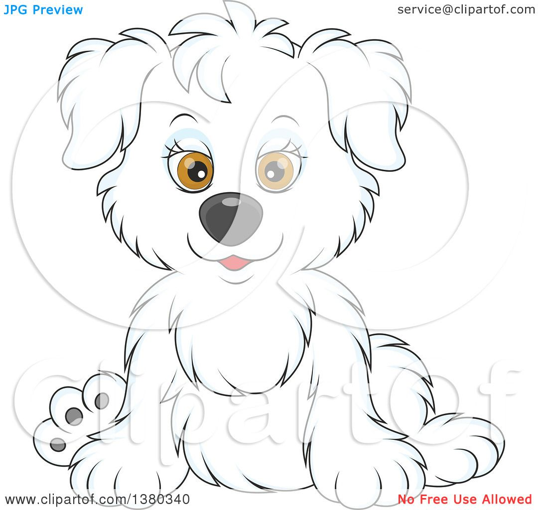 Clipart of a Cute White Puppy Dog Sitting.