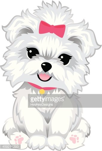Furry White Puppy Clipart Image.