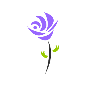 Purple and white flower clipart.