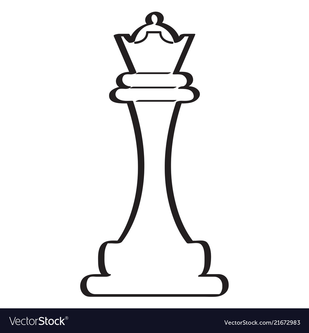 Sketch of a queen chess piece.