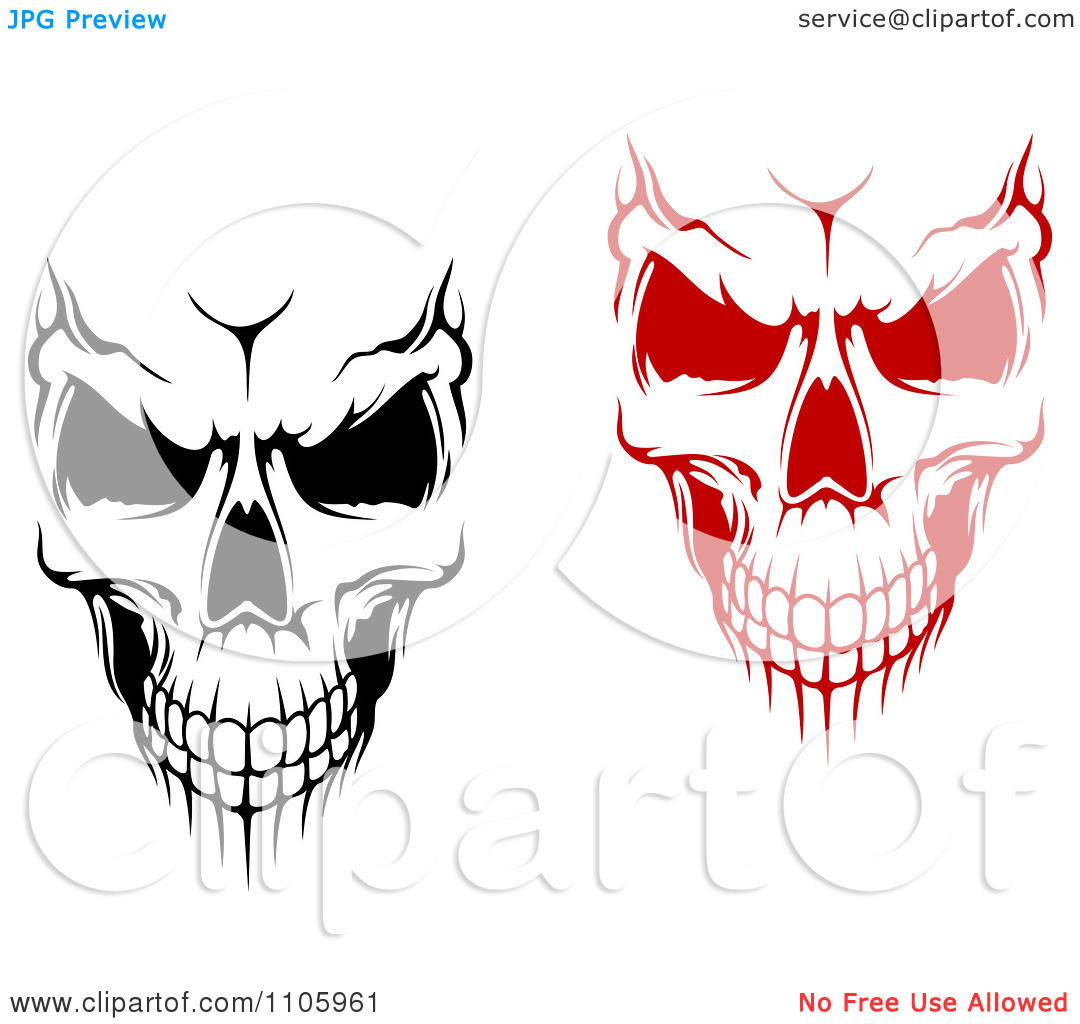 Clipart Evil Black And White And Red Skulls.