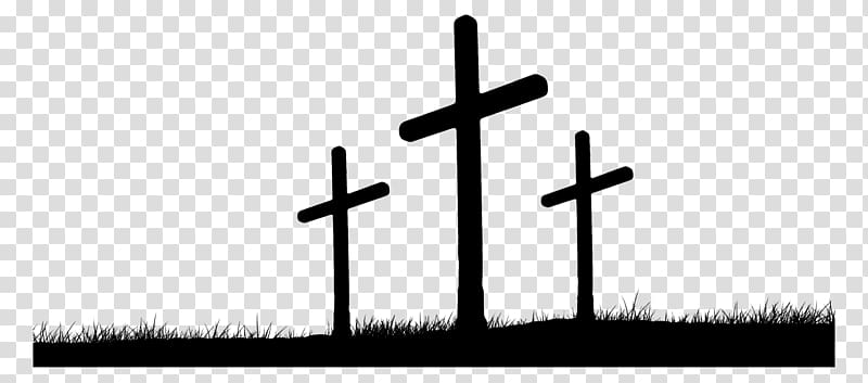 Three black crosses on grass field, Hill of Crosses Calvary.