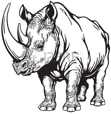 Rhino Clipart Black And White.