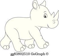 White Rhinoceros Clip Art.