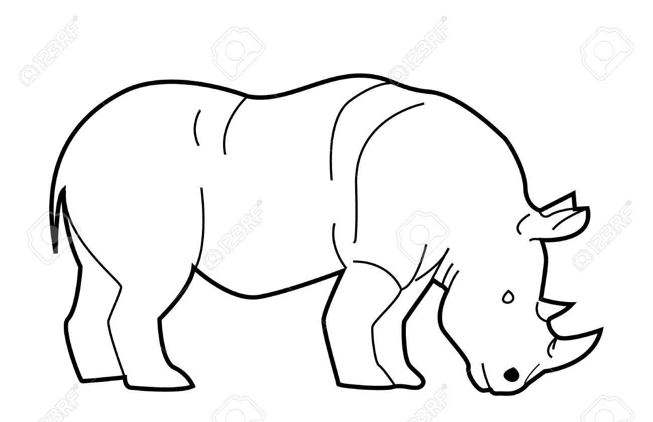Line Drawing Rhino : White rhinoceros clipart clipground