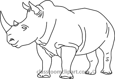 Animals : rhinoceros_04A_outline : Classroom Clipart.