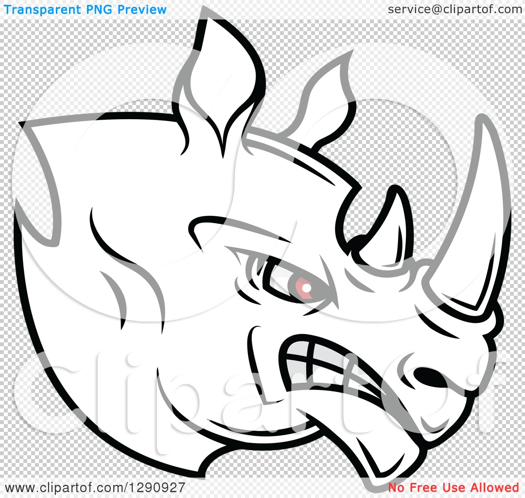 Clipart of an Aggressive Black and White Rhino Head with Red Eyes.