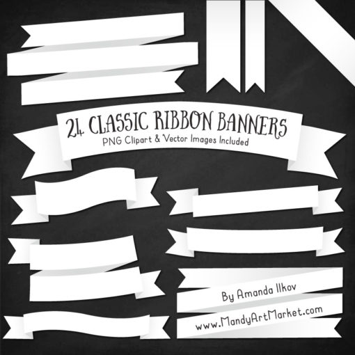 white ribbon banners clipart #2