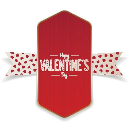 Textile Valentines Day red Banner and white Ribbon Clipart.