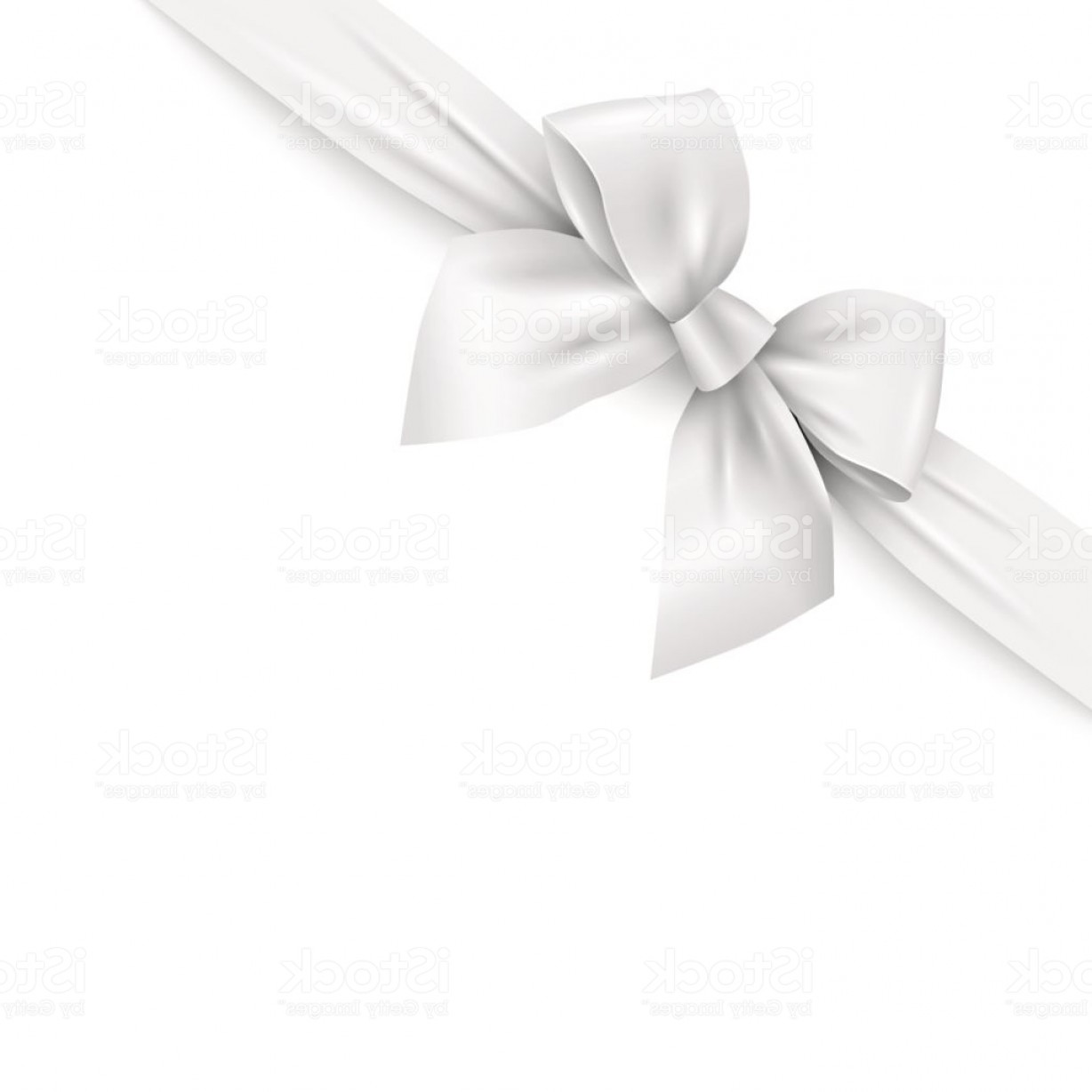 Realistic White Ribbon With Bow On White Background Gm.