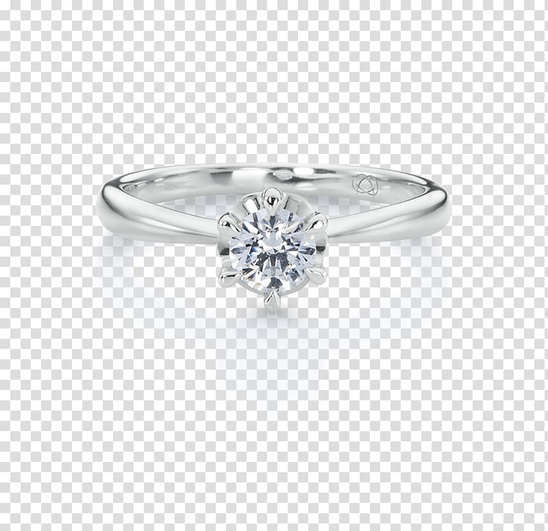 Diamond Engagement ring Prong setting, round light emitting.