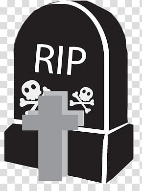 Halloween Mega, gray and black RIP tombstone illustration.