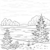 Clip Art of Landscape. Forest river, outline k7028206.