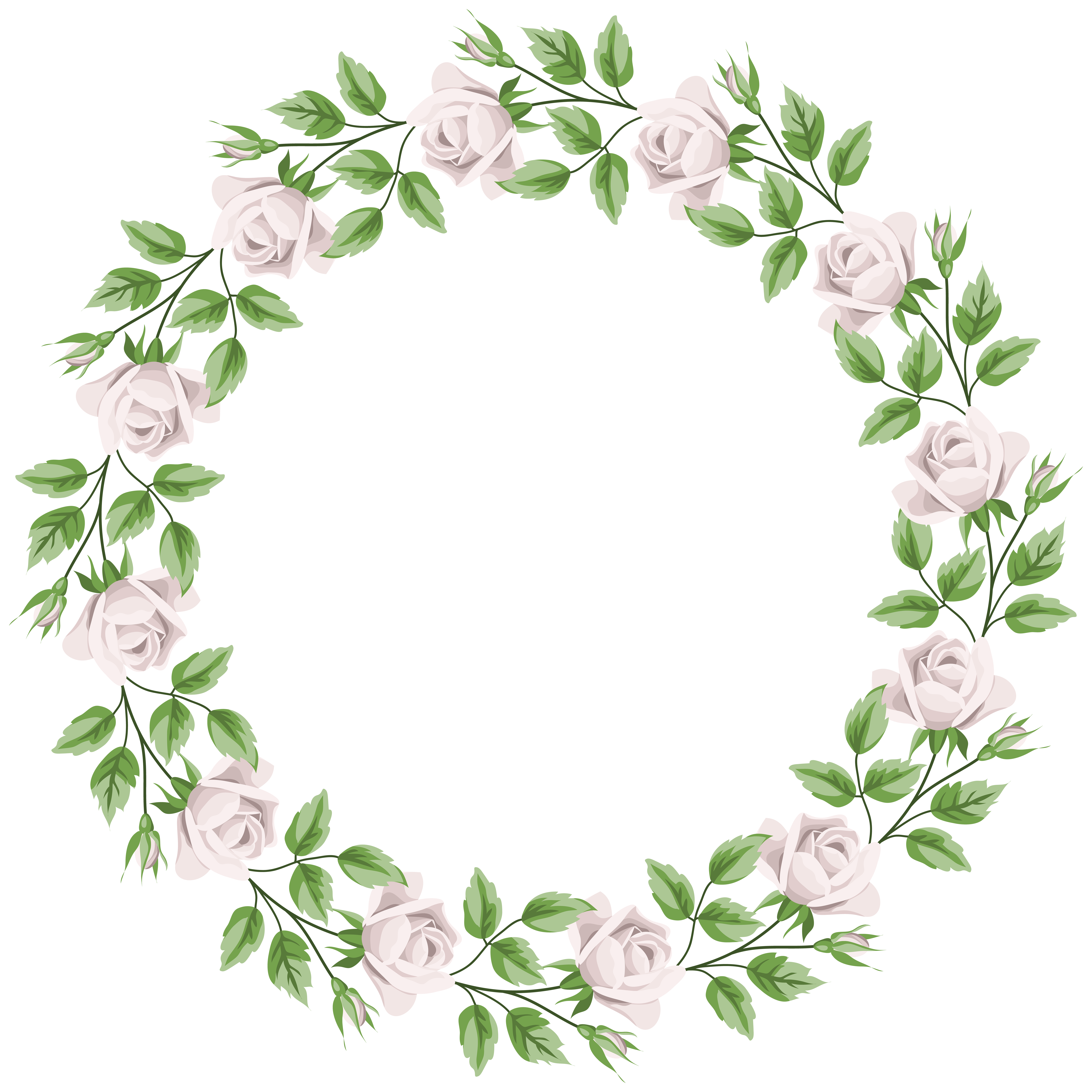 White Rose Border Frame Transparent PNG Clip Art.