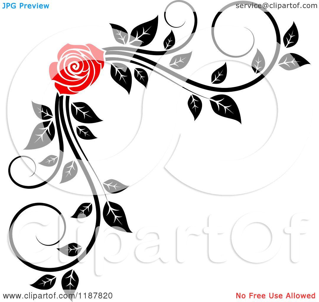 Black And White Rose Border Clip Art.