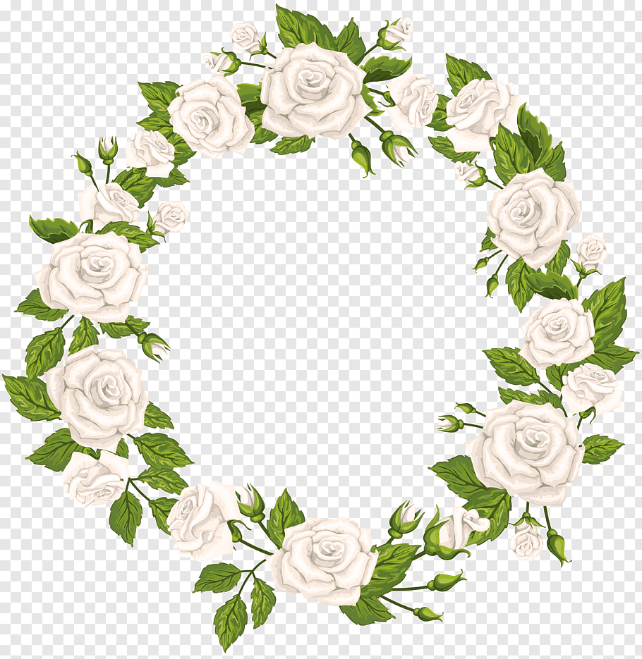 White and green floral wreath, Rose White, Roses Border.