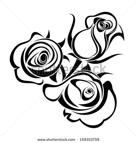 Rose buds. Vector black silhouette..