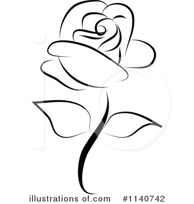 Free black and white rose clipart.