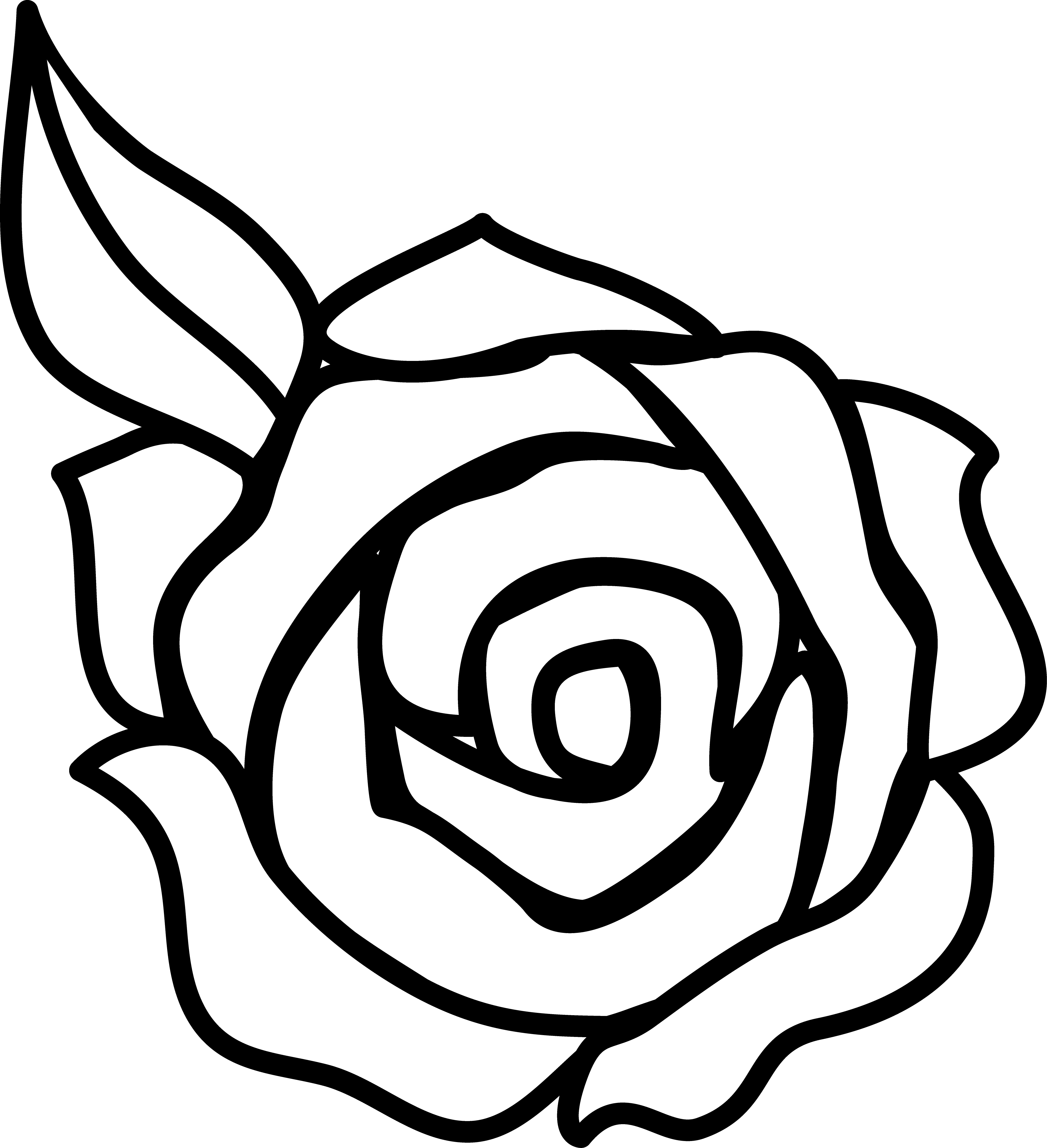 Black And White Rose Border Clip Art.